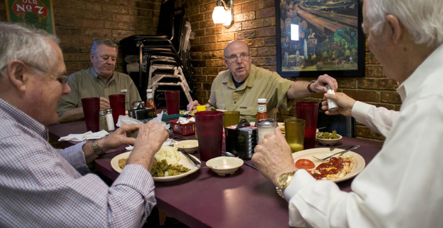 Rich Russell, Russell Moehle, Chuck Martin and Denny Kelly enjoy lunch at Kel's every Monday. Photo by Danny Fulgencio
