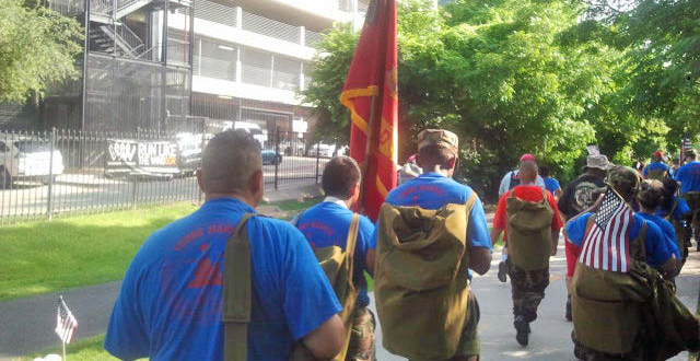 Young Marines group on the Katy Trail.