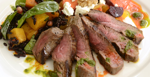 Salad with butternut squash, golden beets, grapefruit and flank steak: Mark Davis