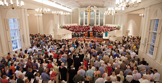 At a recent service, the Preston Hollow Presbyterian sanctuary choir performs for a packed house. Photo by Kim Leeson