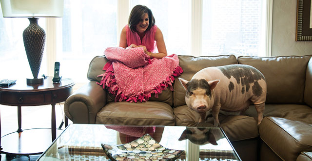 Petunia and her owner, Weezie Margolis: Photo by Kim Leeson