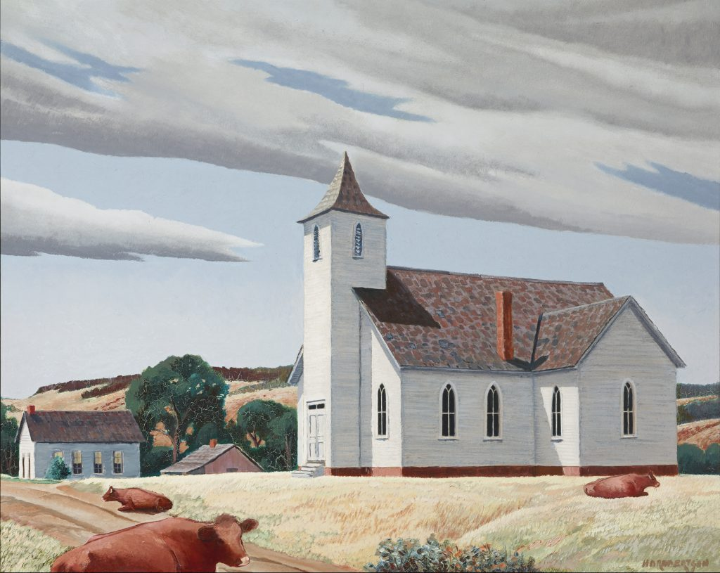 Untitled (Three cows and a church), n.d. H.O. Robertson. Oil media, 29 x 35 in. Gift of Dr. and Mrs. J. Dean Robertson
