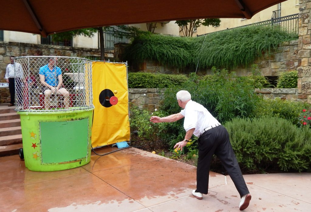 John Falldine gets dunked for a good cause