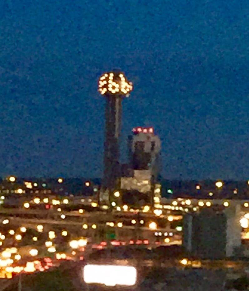 Reunion Tower's tribute to the legendary Ebby Halliday, via Facebook.