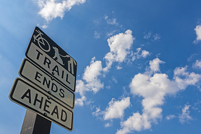 """Trail Ends"" sign on Northaven Trail (Photo by Danny Fulgencio)"