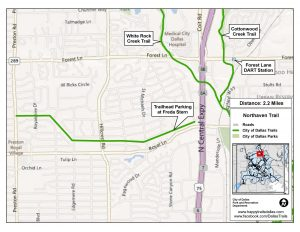 Click to see a larger Northaven Trail map at happytrailsdallas.com/trail-maps (Map courtesy of the City of Dallas)