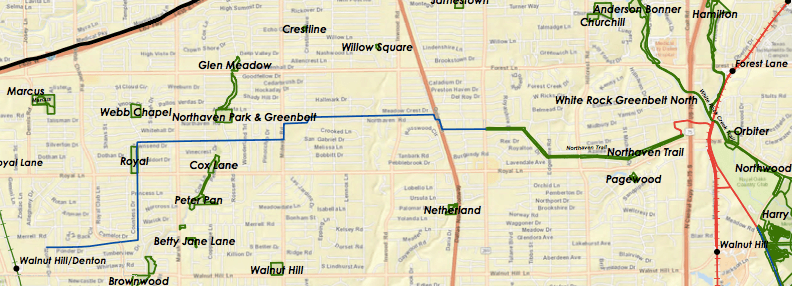 This map shows the Northaven Trail as it exists today in blue, with the expected western expansion in blue and the eastern expansion in red. (City of Dallas)