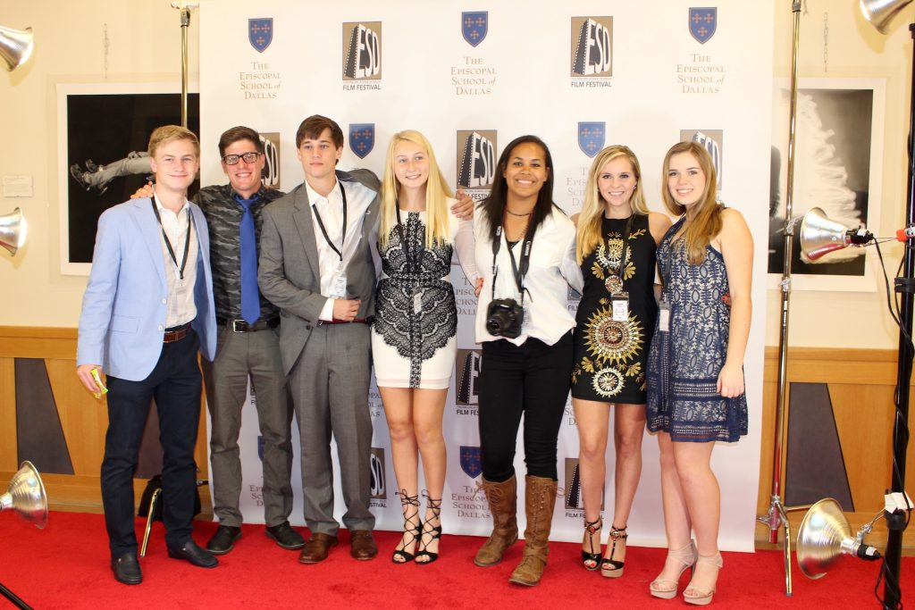 ESD Film Club members (left to right) Cal Etcheverry, film teacher Bobby Weiss, Byars Crowe, Grace Boyd, Chloe Williams, Virginia Tiernan, and Ellery Marshall pose on the red carpet Friday at the ESD Film Festival.