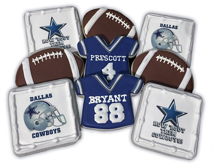 Dallas Cowboy-themed treats made by Cookie Whipped.