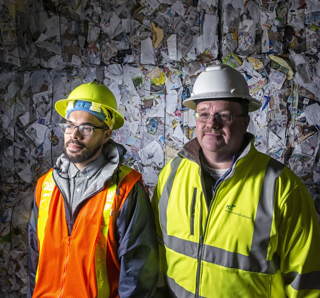 Marcos Estrada, left, the city's waste diversion coordinator, and Darrell Clemons, the FCC plant's general manager. Photo by Danny Fulgencio