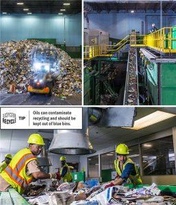 An earthmover shuffles a mound of materials that trucks have dumped on the floor of the FCC plant. Recycling materials make their way up a conveyor belt. Workers in one of the plant's cabins perform the initial sort. Photos by Danny Fulgencio