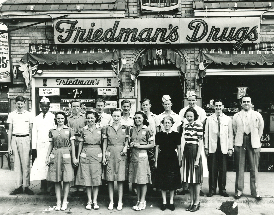 Friedman's Drug Store at Grand Avenue and Harwood Street in the 1950s. (Photo courtesy of The Dallas Jewish Historical Society)