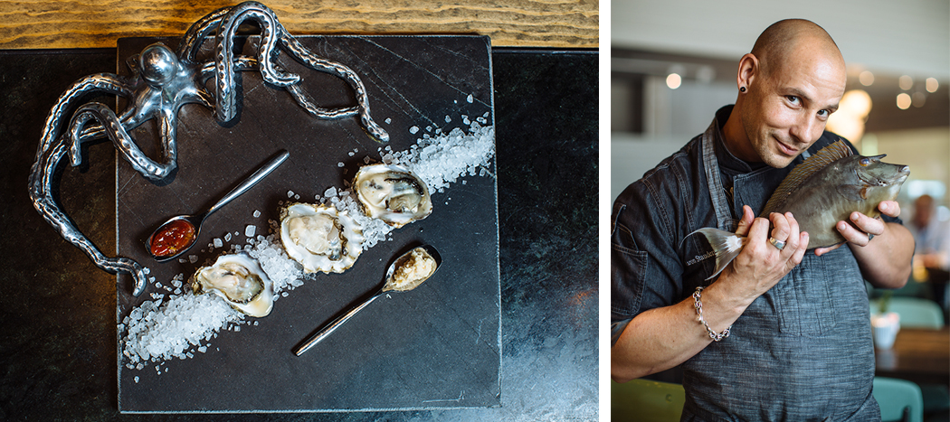 Left: raw oysters. Right: executive chef Aaron Staudenmaier (Photos by Kathy Tran)