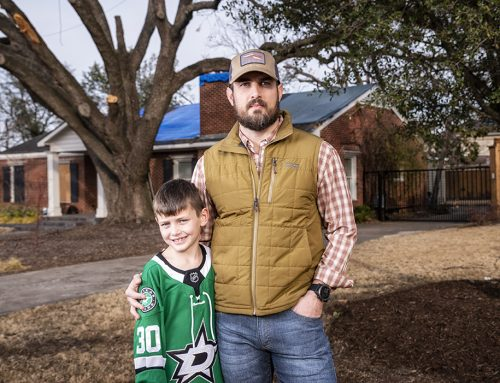 After the tornado: Brant Landry helped neighbors replace their lost trees.