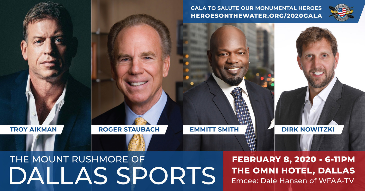 Come see the Mount Rushmore of Dallas Sports - Troy Aikman, Roger Staubach, Emmitt Smith and Dirk Nowitzki. Dale Hansen of ABC Dallas will interview these icons in a casual and intimate setting. Tickets & sponsorships available. Omni Downtown Dallas on February 8, 2020 - 6:00 PM.