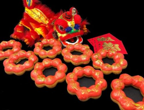 Try a red and gold chewy puff doughnut for the Lunar New Year