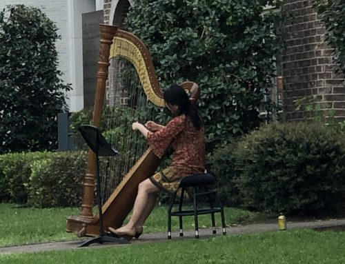 During dark times, a neighbor plays a peaceful harp solo